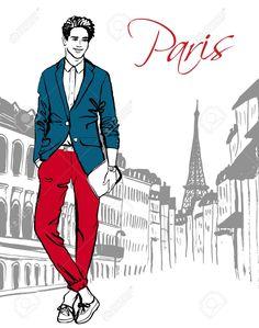 Fashion illustration of man walking on street of Paris. Hand drawn ink sketch. Stock Vector - 48322715