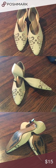 "Shoes Nude 2"" heels. Pretty filigree toe design.  Some wear on the soles but upper is in great condition!!!   Very snazzy!! Shoes Heels"