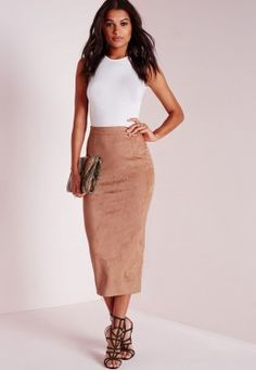 Sale Enjoy Camel Jersey Midi Skirt With Side Split - 10 / BEIGE I Saw It First Shop Sale Online Discount Wholesale Buy Online Authentic mOEdLYf