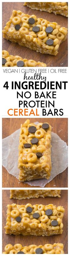 Healthy 4 Ingredient No Bake Protein Cereal Bars- Super easy, healthy, homemade protein cereal bars with NO nasties at all! {vegan, gluten free, oil free recipe}- http://thebigmansworld.com