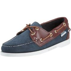 "Sebago Women's Spinnaker Boat Shoe Sebago. $39.99. Women's Sebago, Spinnaker two tone boat casual. leather. Heel measures approximately 0.5"". Classic Docksides style with modern comfort features.. Rubber sole. Genuine moccasin construction wraps the foot in a single piece of leather. Rubber sole. Leather"