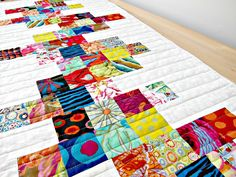 Quilted Table Runner Modern White Bright by TheQuiltingViolinist
