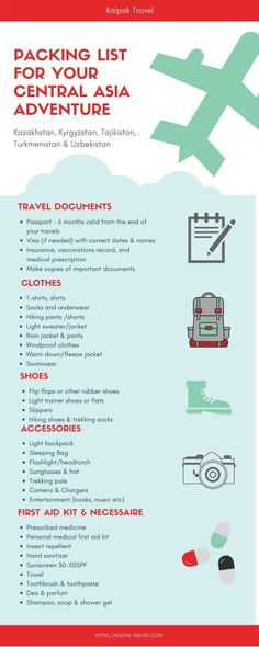 Central Asia packing list: What to pack for your trip to Central Asia? Here are 20 things to consider for your packing list. Business Trip Packing, Vacation Packing, Packing List For Travel, Packing Checklist, Packing Tips, Travel Map Pins, Asia Travel, Cute Backpacks For Traveling, Medical Prescription
