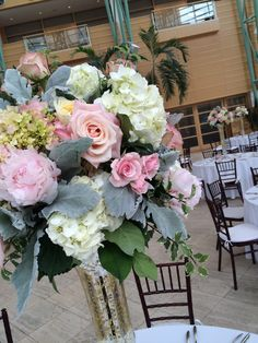 Furst Florist Centerpiece at the Schuster Center in blush and cream #FurstEvents #Daytonweddings