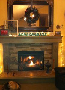 Fireplace redone using Airstone simulated stone finish
