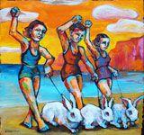 """Rabbit Beach 21""""x20"""" acrylic on canvas"""