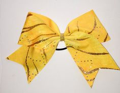 Yellow & Gold Cheer Bow by Justcheerbows on Etsy, $10.00
