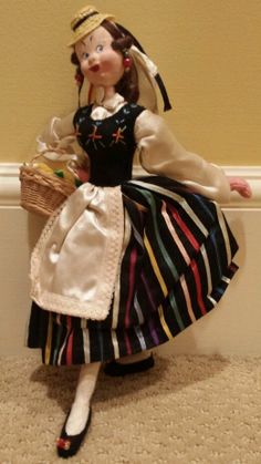 Vintage Klumpe Made in Spain Peasant Lady with Fruit Basket Doll #Klumpe