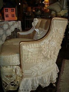 Lace n burlap chair