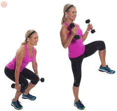 Chris Freytag demonstrating Squat Curl with alternating knee lift in a pink tank top