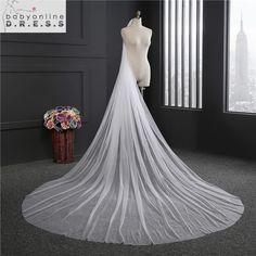 55dc5a8753b08a 2017 Elegant Wedding Veil 3 Metrów Długie Miękkie Bridal Welony Z  Grzebienia Jedna warstwa Ivory Biały Kolor Panny Młodej Ślub akcesoria