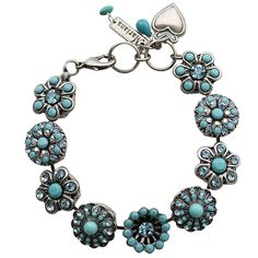 "Mariana Silver Plated Statement Flowers Swarovski Crystal Bracelet, 7"". Available at www.regencies.com"