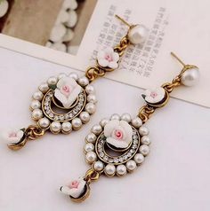 Lusion Jewelry wholesale for women 2015 new design fashion earring Zinc Alloy Pearl flowers pendant stud earrings 4 color  S20