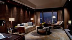 Premier Executive Suite Living Room at 5 star hotel: The Ritz-Carlton Hong Kong. This hotel's address is: 1 Austin Road West, International Commerce Centre, Tsim Sha Tsui Hong Kong and have 312 rooms Hotel Lounge, Hotel Suites, Hotel Amenities, Hotel Pool, Hotel Spa, Luxury Hotel Design, Luxury Hotels, Luxury Hotel Bathroom, Room Door Design