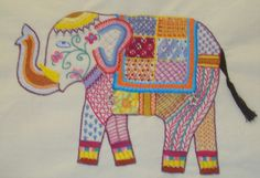 My Crewel work elephant - tried out quite a few different stitches.
