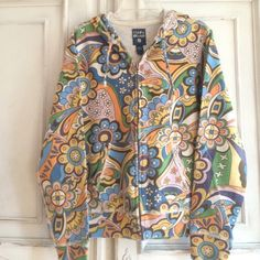 LUCKY BRAND FUNKY FLORAL ZIP Sweatshirt hoodie LUCKY BRAND FUNKY FLORAL HOODIE. Size Medium. 100% Cotton Knit. ***Not Fleece.*** Front pockets. Zipper front. Drawstring hood. Very good condition. Worn 2/3 times. Lucky Brand Sweaters
