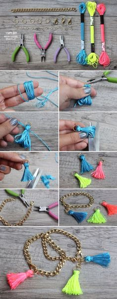 13 Wonderful DIY Jewelry Crafts I love these little tassels! Just think of all the things you can add them to! 13 Wonderful DIY Jewelry Crafts I love these little tassels! Just think of all the things you can add them to! Diy Schmuck, Schmuck Design, Armband Diy, Diy Bracelets Easy, Homemade Bracelets, Chain Bracelets, Diamond Bracelets, Pandora Bracelets, Diy Crafts Jewelry