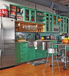A gorgeous loft kitchen with green cabinets and cork floorsMy green might be more yellow, but a great imagination!
