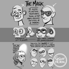 Tuesday Tips - The Mask Helps to figure out the shape of eyes in perspective by thinking of its surrounding area instead of guessing it. -Norm #tuesdaytips #100tuesdaytips #grizandnorm #themask #drawingtutorial #drawingtips #arttutorial