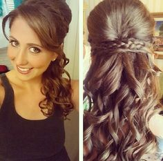 Bridesmaids hair for katies wedding LOVE BC OF POOF AND HAIR DOWN WITH CURLS & BRAID