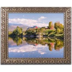 Trademark Fine Art 'Pastoral Reflection' Canvas Art by Michael Blanchette Photography, Gold Ornate Frame, Size: 11 x 14, Assorted