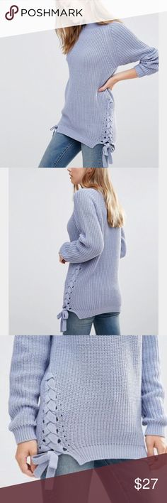 ASOS vila lace up sweater size S lilac Lace up sweater in 90s nostalgia style in lilac/light blue. Size S. Only worn 1-2x, basically like new. Stretchy. Acrylic mix (no wool). Brand is Vila but retailer is ASOS. No trades ASOS Sweaters Crew & Scoop Necks