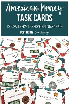 Practice counting American coins with this set of task cards for first, second, and third grade. Try using them in a Math Center or for early finishers.