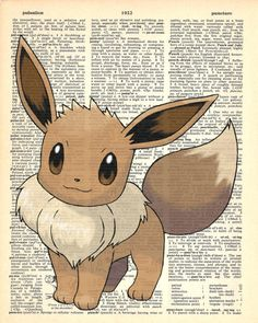 Eevee Pokemon Dictionary Art Print by MollyMuffinsPrints on Etsy