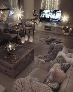 This So Much This For My Loving Room. The Candles And Floor Lights The  Fluffy Pillows, Big Blanket, Big Coffee Table