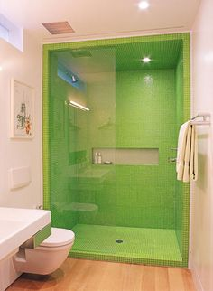 Who'd have thought that lime green could work so well in a bathroom? Bathroom Colors, Blue Bathrooms, Bathroom Ideas, Bath Seats, Barn Renovation, Kitchen And Bath Remodeling, Bathroom Countertops, Wet Rooms, New Homes