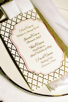 Custom designed menu Houston Invitation Service / www.keelythorne.com / Nancy Aidee Photography
