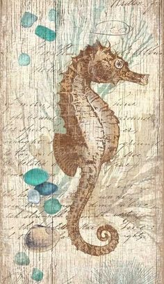 We adore these under-the-sea coastal seahorse, blue coral and aqua sea glass collaged art pieces, printed directly to a distressed wood panel creating an unique and rustic approach to beach cottage wall decor.