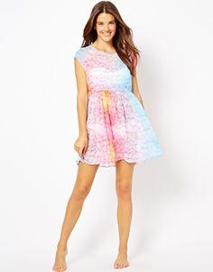 ASOS Slash Back Sweetie Print Smock Beach Dress