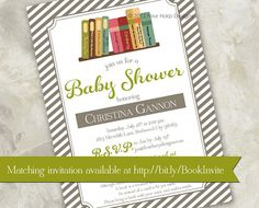 Story Time Baby Shower Invitation Matching Book by FourHarpDesigns