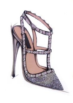 Valentino sketches for Harrods Shoe Heaven exclusives