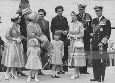 Following her return from a six month tour of the Commonwealth, Queen Elizabeth II (third right) arrives at Westminster Pier with (L-R) Princess Margaret, Princess Anne in front, Queen Elizabeth the Queen Mother, Princess Alice, Duchess of Gloucester, Prince Charles in front, Princess Marina, Duchess of Kent, Her Majesty, Prince Henry, Duke of Gloucester and the Duke of Edinburgh, London, May 15th 1954.