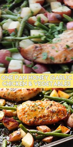 This one pan chicken dinner has the most delicious honey garlic glazed chicken alongside tenderly roasted potatoes and green beans. Plus, it's so easy and flavorful, you'll make again and again! [one pan meals // one pan chicken dinner // one pan chicken One Pan Chicken, Glazed Chicken, Honey Garlic Chicken, Chicken Sheet Pan Dinners, Pan Cooked Chicken, Chicken Wings, Vegetable Recipes, Chicken Recipes, Healthy Dinner Recipes