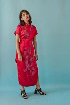 90er Jahre Vintage chinesische Peacock Kleid von BirdOnAWireVintage