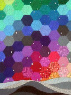 Small Neat Worlds II art print, hexagon honeycomb pattern, colourful geometric art, handpainted stars, Landscape Quilts, Honeycomb Pattern, New Print, Shoe Box, Art Tutorials, Watercolor Paper, Geometric Shapes, Color Mixing, Original Paintings