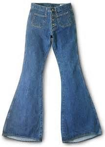 This picture is of the bell bottom jeans. These jeans were worn by both men and women. Bell bottom jeans were jeans that flared at the bottom and were popular on the 1970's.