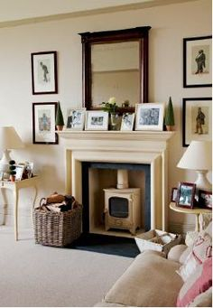 Stunning fireplace for the dining room. Really like the black trim matched with the cream. (Original source has disappeared. Inglenook Fireplace, Fireplace Design, Fireplace Ideas, Living Room With Fireplace, Living Room Decor, Dining Room, Beautiful Interiors, Beautiful Homes, Victorian Homes