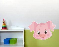 Buntes Wandtattoo Tiergesicht Schwein. Tiergesicht Schwein Wandtattoo in einer Breite ab 30cm