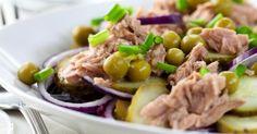 Recette de Salade de pommes de terre au thon, haricots verts et petits pois. Facile et rapide à réaliser, goûteuse et diététique.