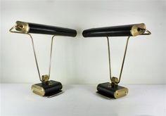 Eileen Grey brass and enamel desk lamps
