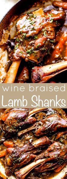 These Wine Braised Lamb Shanks are so deliciously tender they melt right off the bone. Serve them with the rich velvety perfectly seasoned red wine sauce for a truly deep and comforting family dinner. Easy Lamb Recipes, Easy Dinner Recipes, Meat Recipes, Cooking Recipes, Dinner Ideas, Meatloaf Recipes, Party Recipes, Recipies, Lamb Shank Recipe
