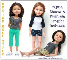 Cute capri's and shorts sewing pattern for BFC, Ink Dolls! #sewing #doll