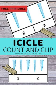 Add some simple counting with these preschool winter math count and clip cards. A fun way to work on counting skills! Counting Activities, Preschool Learning Activities, Preschool Printables, Fun Math, Preschool Activities, Lesson Plans For Toddlers, Preschool Winter, Printable Numbers, Winter Fun