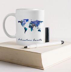 Watercolor world map travel mug original painting by world map mug adventure awaits world travel map mug by huppymugs sciox Image collections