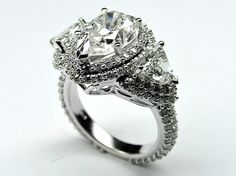 Pear Shape Diamond Vintage Engagement Ring Setting trillion side stones 2.4 tcw in 14K White Gold