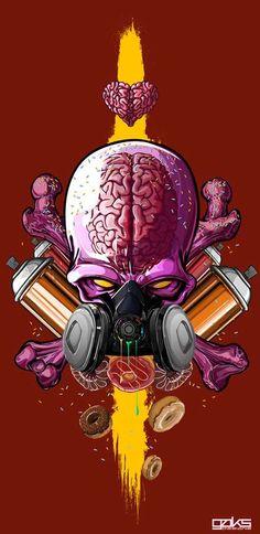 Clear Cranium Alien Art ~ Gerrel Saunders Renders Transparent Skulls with Throbbing Brains Graffiti Art, Images Graffiti, Graffiti Wallpaper, Art And Illustration, Illustrations And Posters, Desenho New School, Arte Hip Hop, Alien Art, Art Anime